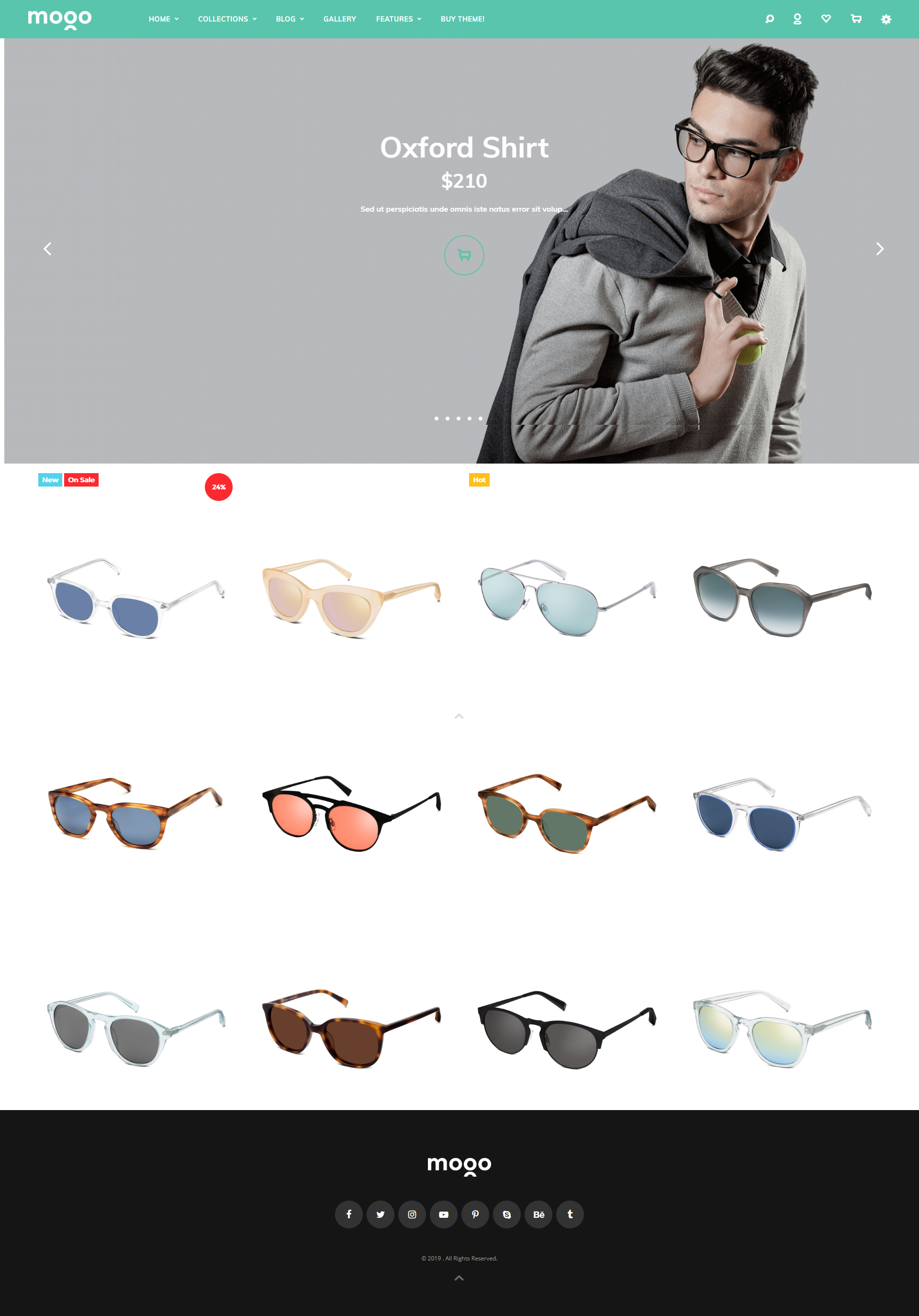 Glasses shopify theme, live demo of Mogo Shopify theme #3
