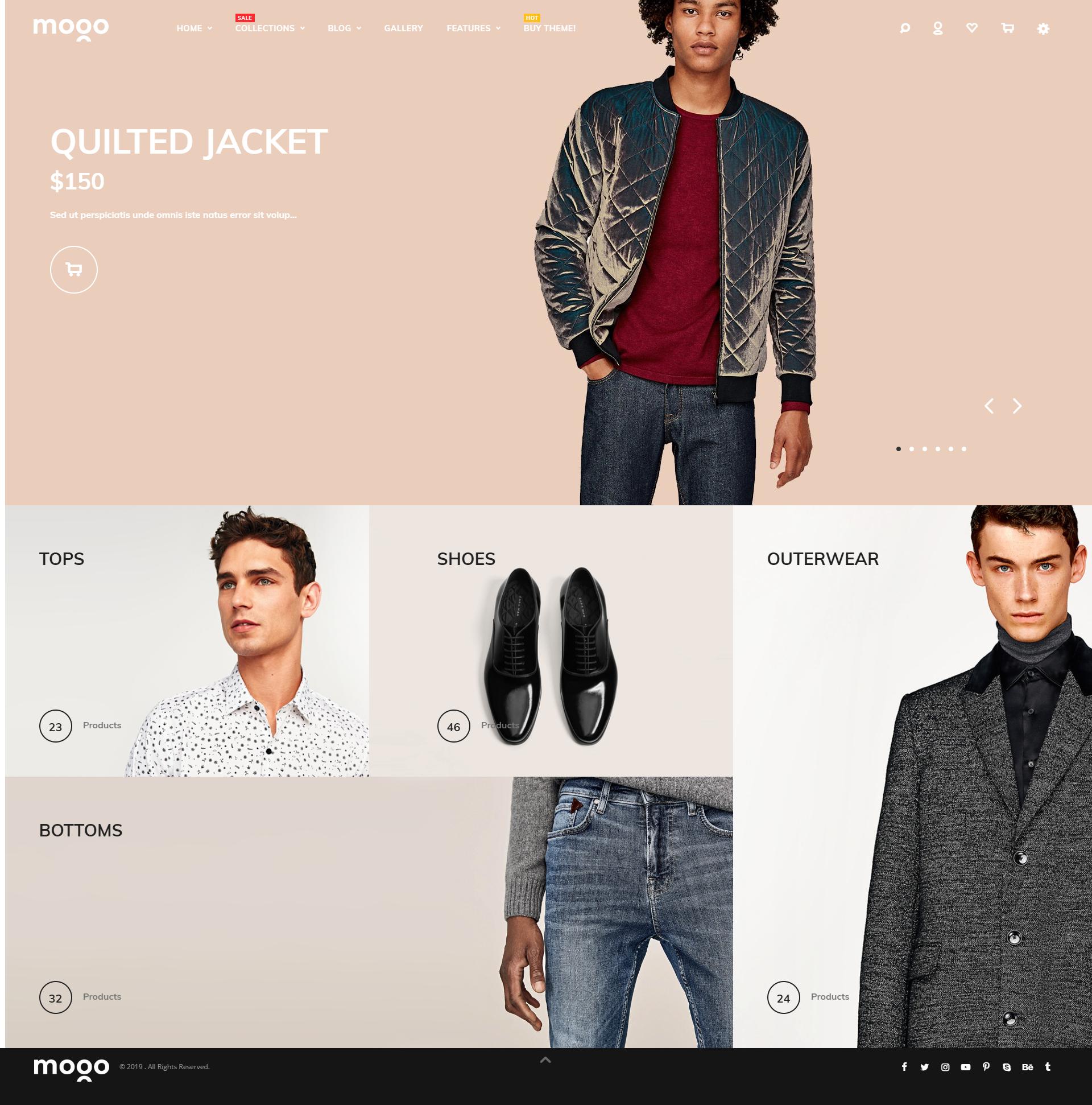 Men's clothing Shopify theme, live demo of Mogo Shopify theme #12